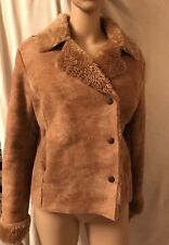 MARKS AND SPENCER, SIZE SMALL, TAN FAUX SHEEPSKIN/FLEECE JACKET/COAT, PRE-OWED