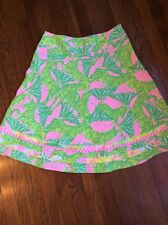 Lilly Pulitzer Skirt Zebra Butterfly Cotton Tiered A Line Green Pink Size 4