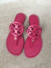 New Tory Burch Miller Sandals Fushia Pink Saffiano Leather Size 8