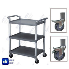Commercial Grey Three Shelf Utility Cart Bus Cart Kitchen Hotel Janitorial