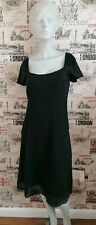 Fenn Wright Manson 100% Silk Black Embellishment Evening/Party Dress Size 14 UK