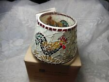 Home Interiors & Gifts Mosaic Glass Rooster Candle Jar Topper in Really good con