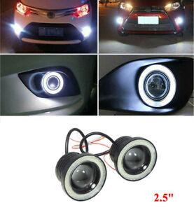 2x Car 2.5in COB White LED Fog Light Projector Halo Angel Eyes Ring DRL Bulb
