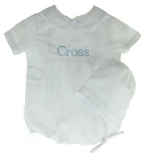 Baby Boys White Christening Bubble Outfit & Hat Set | Mom N Me