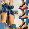 Women's Pointy Toe Bow Slip On Flat Soft Heels Pumps Walking Hollow Casual Shoes