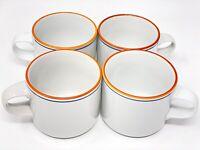Set of 4 Dansk White Cups Mugs  Blue Orange Rim N/R Japan