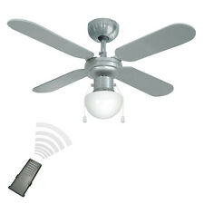 Remote Control Silver  Chrome 3 Speed Ceiling Fan with Light Reversible Blades