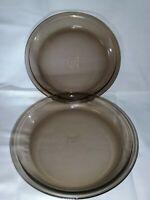 "Vintage #209 PYREX Set of 2 Amber Glass 9"" Pie Plates Pans Flat Edge~ FREE S/H"