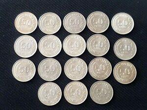 1967-1984 Complete set of 18 pcs. Singapore 50 cents Lion Fish coins (SC-83)