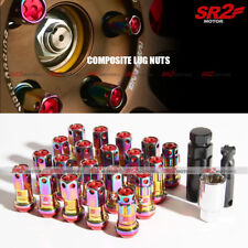 M12 X 1.50 mm Neo Chrome Red Composite Close End Acorn Steel Wheel Lug Nuts 20pc