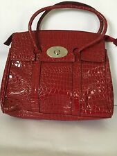 Elegant Ladies Celebrity Style Red Faux Leather Croc Tote Grab Evening Handbag