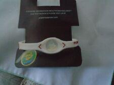 Power Balance Silicone Bracelet w/Hologram Size L  White/Red Writing NIB