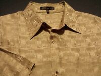 Creme de Silk Mens Big 2X 2XLB Short Sleeve Button-Front Brown Geometric Shirt