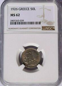 1926 Greece 50 Lepta, NGC MS 62, KM-68