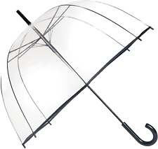 SMATI Transparent Birdcage/Clear Dome See Through Stick Umbrella with Black -