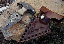 Survival Handmade Damascus hunting  knives with Real Bone and HORN Handle U.S.A