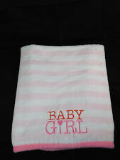 Carters Just One You BABY GIRL Blanket White Pink Stripe Heart Security Blanket