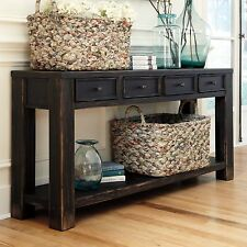 Ashley T732-4 Signature Design Gavelston Sofa Table With 4 Drawers, Black Finish