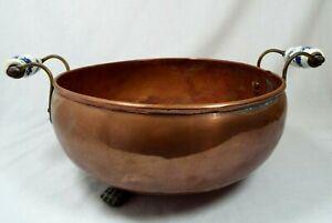 Antique Hand Made Clawfoot Copper Cauldron W/ Handles Planter Jardiniere Rustic