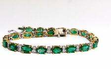 9.50ct green natural emerald diamonds tennis bracelet 14k G/VS