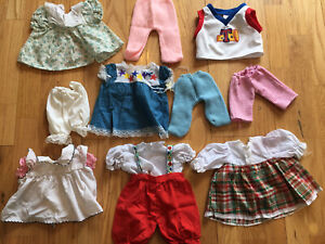 Vtg Lot w 10 Doll Clothes Fits Cabbage Patch Dress Pants knit Overalls Shirt