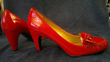 """Patent Red Leather 3"""" Heel Court Shoe with Bow by Naturalizer SMALL 6 or 5"""