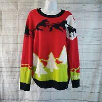 LuLaRoe Womens Christmas Holiday Sweater Sz Large Red Green