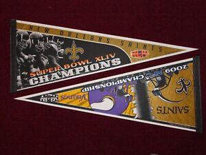 (2) NEW ORLEANS SAINTS SUPER BOWL XLIV PENNANTS - 2009 NFC CHAMP GAME & SB44 WIN