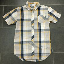 Zoo York Men's Small Plaid Short Sleeve Button Front Shirt - Yellow White Black