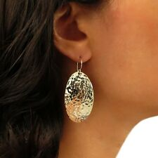 Large Oval 925 Sterling Silver Hammered Drop Earrings