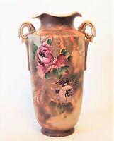 Japanese Antique Nippon Moriage  Porcelain Vase or Urn w/Ruffled Top & 2 Handles