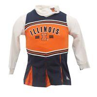 Illinois Fighting Illini NCAA Adidas Kids Girls Size 2 Piece Cheerleader Outfit