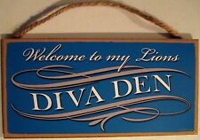 Detroit Lions NFL Womens Welcome to My DIVA DEN Wood Sign - NEW