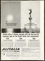 1961 Alitalia Airlines PRINT AD Fly to the Other Side of the World