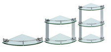NEW LUXURY CHROME & TOUGHENED GLASS BATHROOM CORNER WALL SHELF