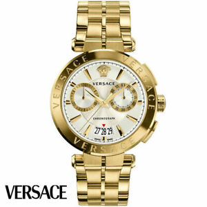 Versace VE1D00419 Aion Chronograph silver gold Stainless Steel Men's Watch NEW