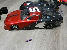 Vintage RC Trinity Evolution purple SS 1/10 Pan Car 2 Bodies Oval Chrome Tires