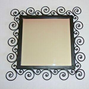 Black Matte Wrought Iron Vanity Dresser Perfume Tray / Wall Mirror
