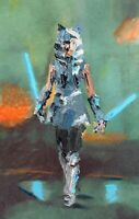ORIGINAL Abstract Ahsoka Tano The Clone Wars Star Wars Wall Art Painting 11x17
