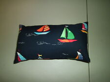 1-Pretty Sailboats on Blue Seas Travel/Nap Smaller Size Pillow   New & Handmade!