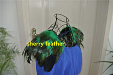 Green feather epaulette pads Carnival feather shoulder burning man decor
