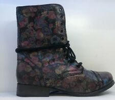 Steve Madden Womens Lace Up Troopa Zip Fastening Flower Print Boots 37.5