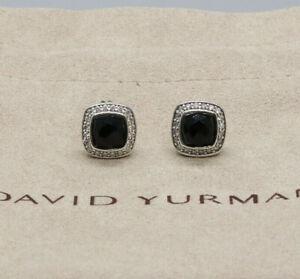 David Yurman Sterling Silver 7mm Albion Earrings Black Onyx & Diamonds 925