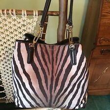 Coach Madison Zebra Animal Print North/South Tote Bag Purse