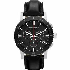 BURBERRY BU9382 Black Dial Chronograph Black Leather Men's Watch