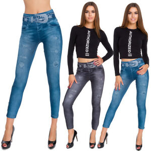 Warm Winter Leggings with Fleece Inside Jeans Effect Rhinestones One Size G02