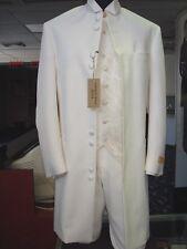 NEW Andrew Fezza Light Ivory Nehru Collar Full Knee Length Tuxedo Jacket 40 Reg