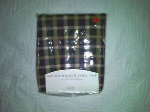 Shabby Chic Purple and Green plaid/check tab top window panel pair
