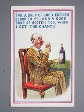 R&L Postcard: Comic, HB Ltd, Man in Suit Drinking Bottle of Whisky, Big Nose