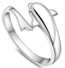 925 Silver New Full Dolphin with Tail Open Adjustable Elegant Ring ~ Usa Seller